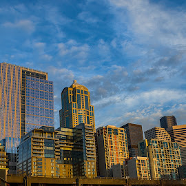 Seattle Close Up by Jerry Cahill - City,  Street & Park  Skylines ( skyline, seatle buildings, seattle, skylines, emerald city )