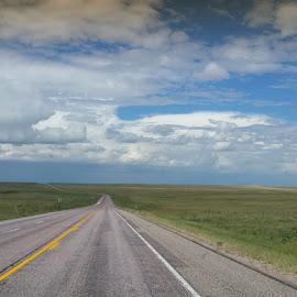 Open Roads by Jennifer Ablicki - Landscapes Travel ( prarie, blue skies, travel, road, west )