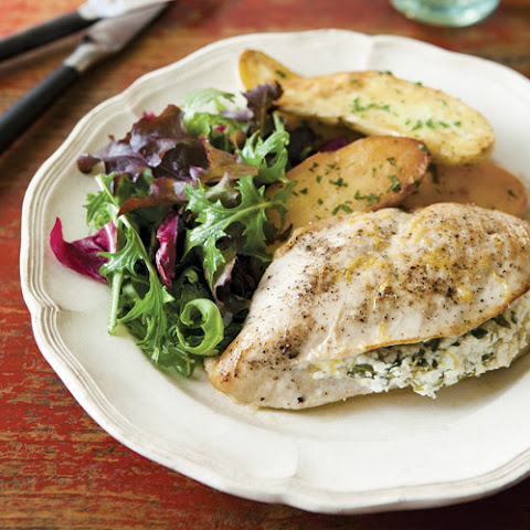 Chicken Breasts Stuffed with Goat Cheese, Arugula & Lemon