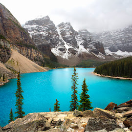 Alpine Blues by Ken Smith - Landscapes Mountains & Hills ( banff national park, landscape, moraine lake )