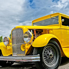Bright Beauty by Barbara Brock - Transportation Automobiles ( blue skies, cloudy skies, yellow car, hot rod, antique car,  )