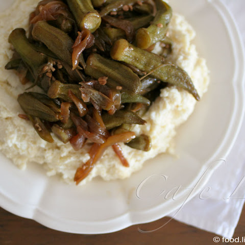 Caramelized Okra With Tahini Mashed Potatoes