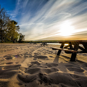 Life can be a Picnic by Hamish Carpenter - Landscapes Beaches ( sand, michigan, otsego lake, sunset, gaylord, long exposure, travel, beachscape, landscape, picnic table, picnic )