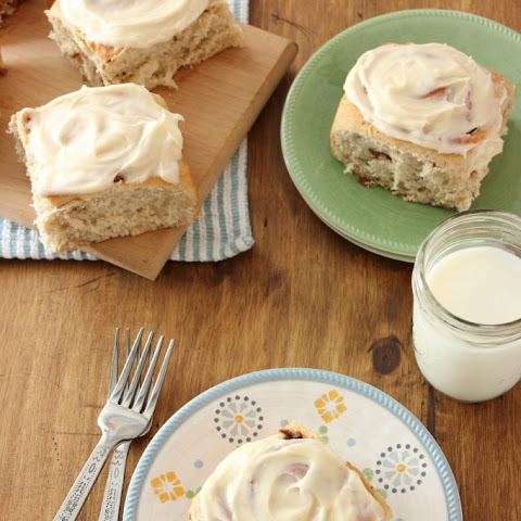 Banana Bread Cinnamon Rolls with Caramel Cream Cheese Frosting