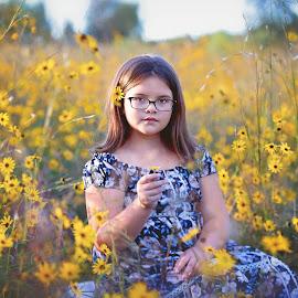 Wildflower by Jeannie Meyer - Babies & Children Child Portraits ( canon, wildflowers, little girl, wildflower, daisies, yellow, golden hour )