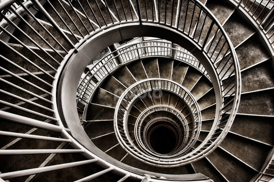 Downward | Spiral by Mark Miller - Buildings & Architecture Other Interior ( stairs, hdr, black and white, akron, spiral )