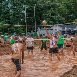 Teamwork by Myra Brizendine Wilson - Sports & Fitness Other Sports ( teams, mud, volleyball, sports, mud volleyball, people )