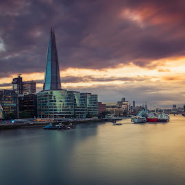 sunset in london by Selaru Ovidiu - City,  Street & Park  Skylines ( shard, thames, london, views, sunset, yellow, river )