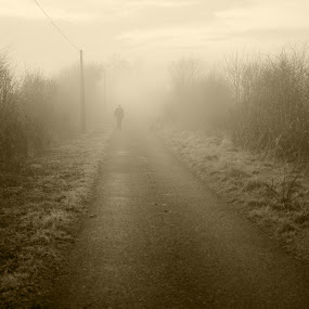 Times past  by Michael Croghan - People Fine Art ( verge, old, sepia, walking, power cable, grass, old road, road, ghost, portrait, gent, silouette, bushes, trees, walk, ghostly )
