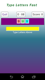 Letters Fast typing game - screenshot