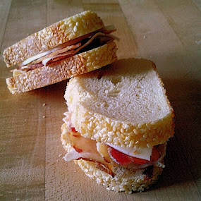 Toasted by Theodore Schlosser - Food & Drink Ingredients ( sandwich, bread, deli meat, meat, bacon, sesame seeds, cheese,  )