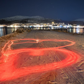 Heart by Jens Andre Mehammer Birkeland - Abstract Light Painting ( light painting, heart, night, light, city,  )