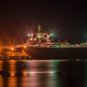 Loading Up by Diane Flynn - Novices Only Objects & Still Life ( lights, water, wheat, ship, grain, night )