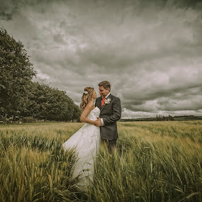 Field by Adrian O'Neill - Wedding Bride & Groom ( love, field, summer, bride, groom )