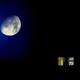 Home by Saba Khozoui - Landscapes Starscapes ( sky, surreal, moon, blue, nature, night, nightshot, abstract, windows, people )