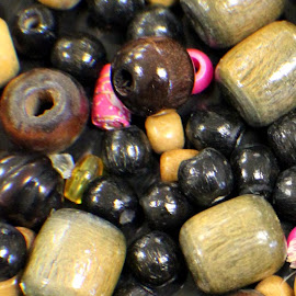 Beads by Ernie Kasper - Abstract Macro ( plastic, wooden, beads, design, holes, shapes )