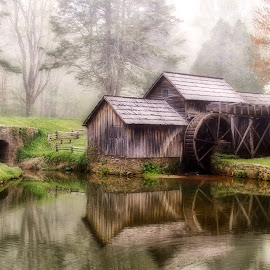 Foggy Mabry Mill by T.L. Essary - Buildings & Architecture Public & Historical ( fog, brp, mabry mill, blue ridge parkway )