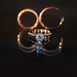 Rings in reflection by DMYTRO SOBOKAR - Wedding Details ( reflection, details, wedding, sobokar, rings, accessories, photo )