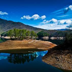 Fontana Lake 2 by Brian Baker - Landscapes Mountains & Hills