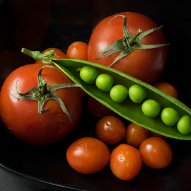 Tomatoes & Peas 2 by Jim Downey - Food & Drink Fruits & Vegetables ( tomato, light, black, peas, shapes )