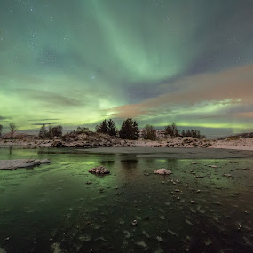 Aurora over pond by Benny Høynes - Landscapes Waterscapes ( water, hill, winter, aurora borealis, landscapes, pond, norway )