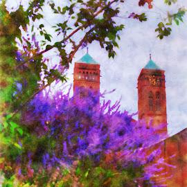 Lavender by Darin Williams - Digital Art Places ( sky, church, fountain, steps, lavender )