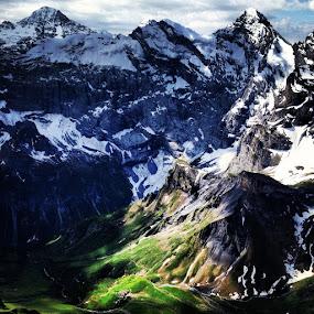 Peak to Valley by Seamus Crowley - Instagram & Mobile iPhone ( mountains, peak, green, snow, elevation, switzerland, summer, light, alps )