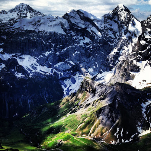 Peak to Valley by Seamus Crowley - Instagram & Mobile iPhone ( mountains, peak, green, snow, elevation, switzerland, summer, light, alps )