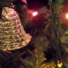 Christmas Bell by River Lackey - Novices Only Objects & Still Life ( holiday, bell, ornament, christmas lights, glass, christmas, holidays, christmas tree, closeup )