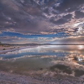 Golden Light by Greg Tennant - Landscapes Sunsets & Sunrises ( cloudscape, lake, rocks )