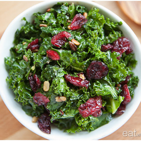 Massaged Kale Salad with Sunflower Seeds and Dried Cranberries