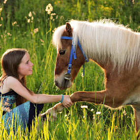Friendly hoof shake by Giselle Pierce - Babies & Children Children Candids ( miniature horse, child, little girl, bridle, friends, girl, grass, dress, horse, kid )