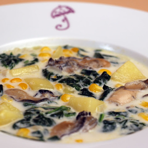 Oyster Chowder with Potatoes, Spinach, and Corn