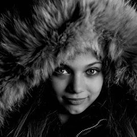 Fur-trimmed Hood by Michele Dan - Black & White Portraits & People ( #child portrait, black and white, beautiful eyes, fur, girl portrait, parka )