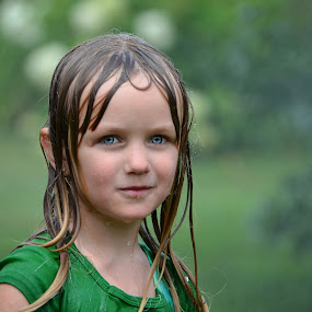 Girl with wet hair by JoAnn Palmer - Babies & Children Child Portraits ( water, child, girl, sprinkler, drops, wet )