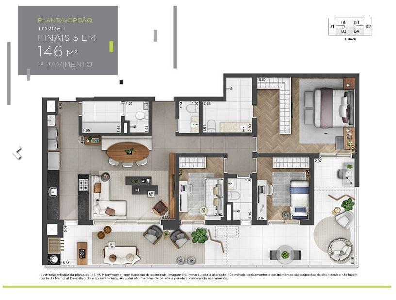 Planta Opção - 1º andar - 146 m²