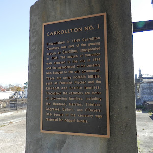 Established in 1849 Carrollton Cemetery was part of the growing suburb of Carrollton, incorporated in 1845. The suburb of Carrollton was annexed to the city in 1874 and the management of the cemetery ...
