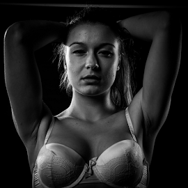 Adelina 1 by Tim Woolf - People Fashion ( fashion, strong, black and white, power, high fashion, bra, people, urban portrait, urban fashion, unique outfit )