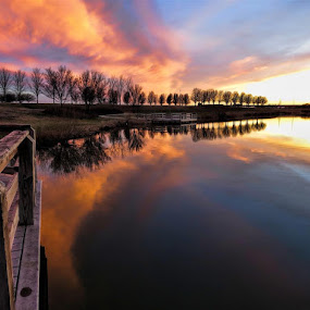 Sunset In Wichita by Jack Powers - Landscapes Sunsets & Sunrises ( clouds, sunset, parks, lake, kansas, wichita )
