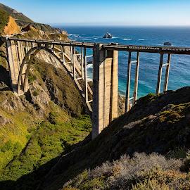 Bixby Bridge by Mark Ritter - Buildings & Architecture Bridges & Suspended Structures ( hills, pch, water bixby bridge, trees, pacific, ocean, rocks, coast )