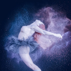 ancing Statue by Cheree Smith - Nudes & Boudoir Artistic Nude ( colour, chalk, nude, tutu, woman, artistic, dancer )