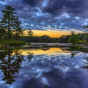 Fawn Lake Cloud Refection by Wenjie Qiao - Landscapes Waterscapes