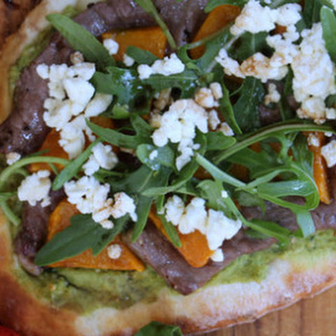 Joanna's Lamb Pizza with Spinach Hummus, Roasted Pumpkin, Feta and Arugula
