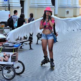 Lviv Angel by Tomasz Budziak - City,  Street & Park  Street Scenes ( ukraine, street scene, city )