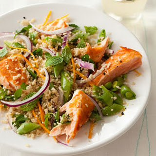 Cool Salmon and Couscous Salad with Snap Peas, Orange and Mint