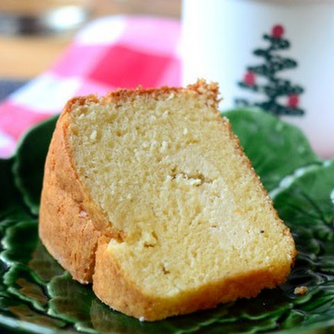 Cheesecake Stuffed Eggnog Pound Cake