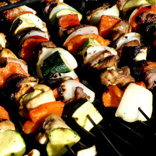 Ginger-Garlic Chicken (or Steak) and Veggie Kabobs