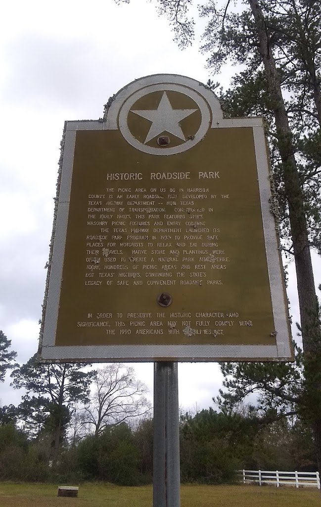 The picnic area on US 80 in Harrison County is an early roadside park developed by the Texas Highway Department -- now Texas Department of Transportation. Constructed in the early 1940's, this park ...