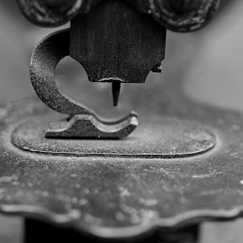 Iron Sew by Michiale Schneider - Black & White Objects & Still Life ( macro, black and white, vintage, needle, sewing machine )