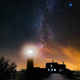 Starry Night Lighthouse by Matt Reynolds - Landscapes Starscapes